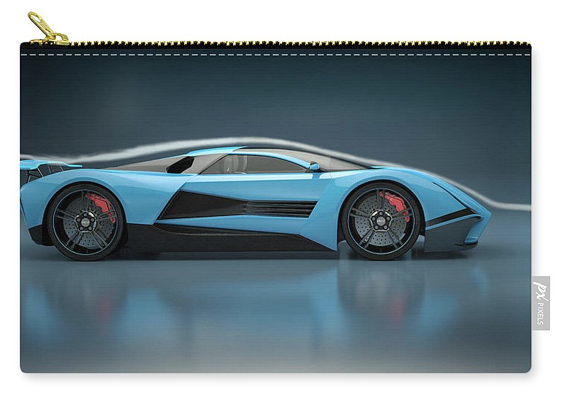 Aerodynamic Carry-all Pouch featuring the photograph Blue Sports Car In A Wind Tunnel by Mevans