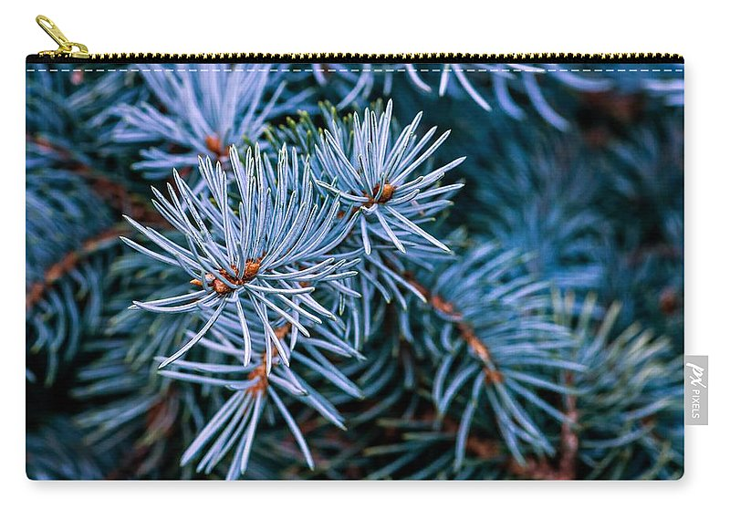 Macro Carry-all Pouch featuring the photograph Blue Spruce by Steve Harrington