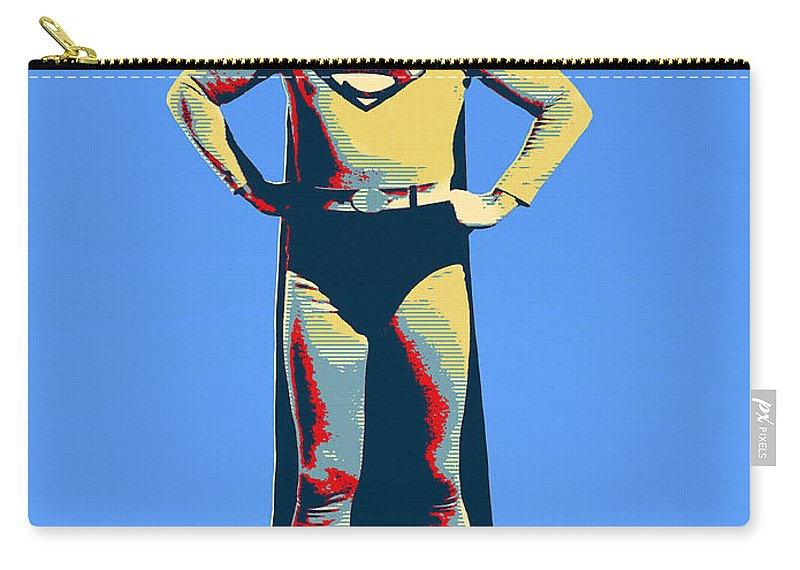 Superman Carry-all Pouch featuring the mixed media Blue Superman by Dominic Piperata