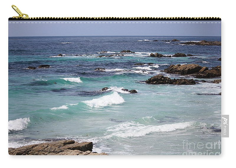 Blue Surf Carry-all Pouch featuring the photograph Blue Surf by Carol Groenen