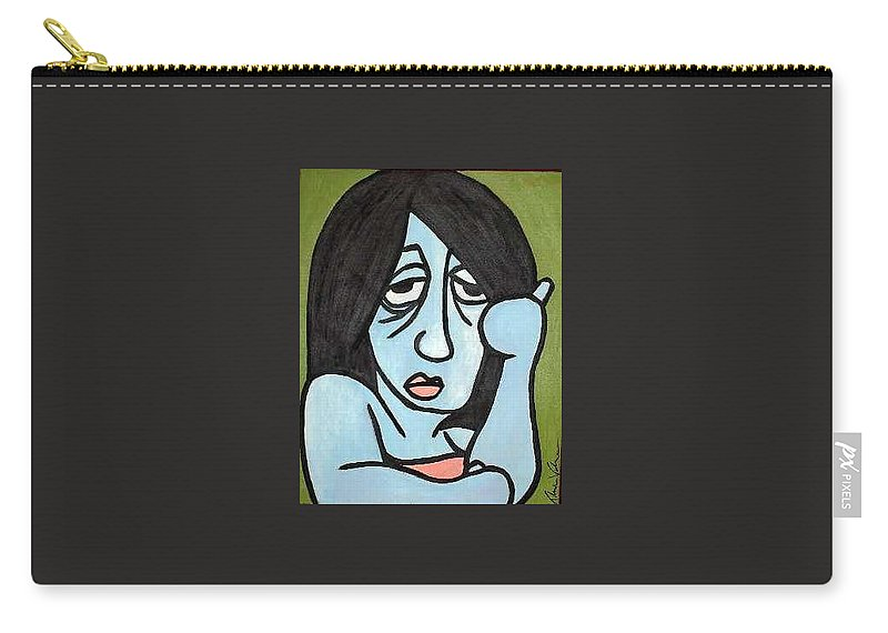 Portrait Carry-all Pouch featuring the painting Blue by Thomas Valentine