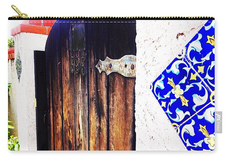 Door Carry-all Pouch featuring the photograph Blue Tile Brown Door 1 by Korynn Neil