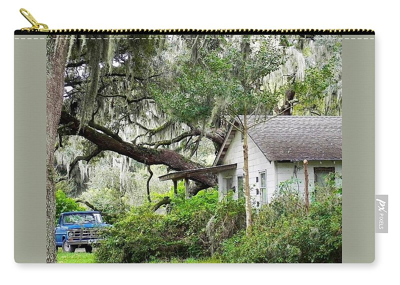 Deep South Carry-all Pouch featuring the photograph Blue Truck And Moss by Patricia Greer