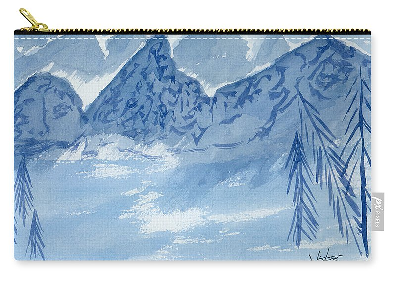Blue Carry-all Pouch featuring the painting Blue View #2 by Victor Vosen
