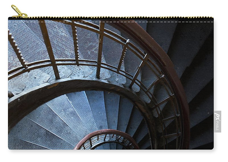 Blue Carry-all Pouch featuring the photograph Blue Vintage Staircase by Jaroslaw Blaminsky