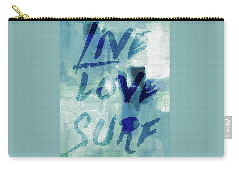 Blue Carry-all Pouch featuring the digital art Blue Waves II by Lanie Loreth