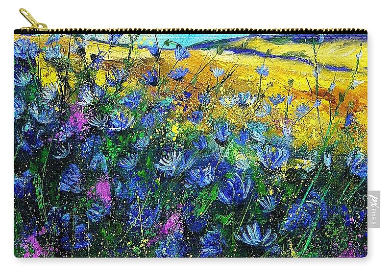 Flowers Carry-all Pouch featuring the painting Blue Wild Chicorees by Pol Ledent