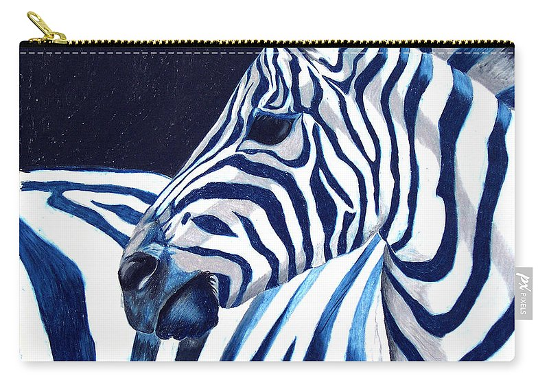 Zebra Carry-all Pouch featuring the painting Blue Zebra by Alison Caltrider