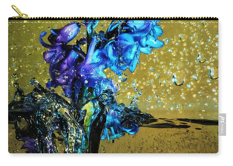 Blue Bell Carry-all Pouch featuring the mixed media Bluebells In Water Splash by Peter v Quenter