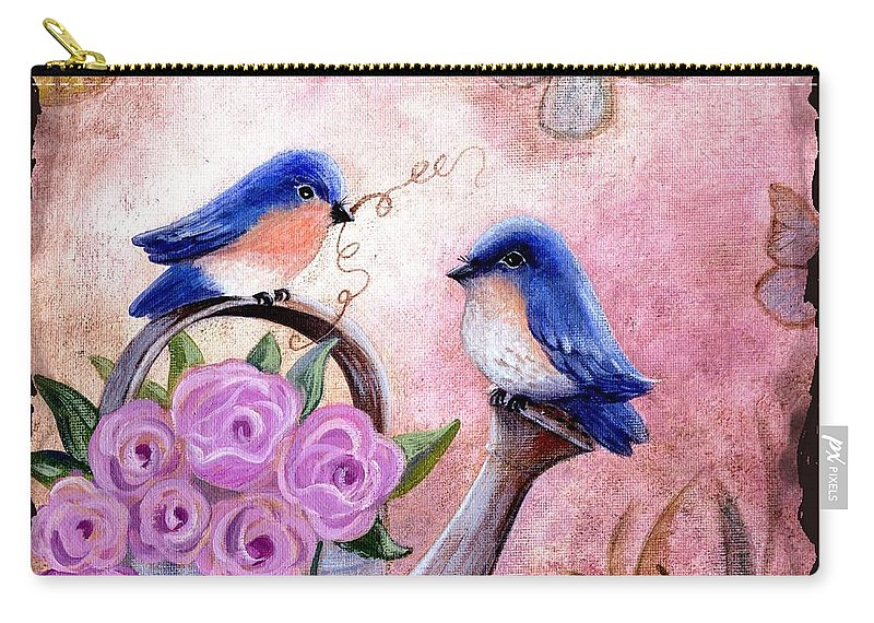 Shabby Chic Carry-all Pouch featuring the painting Bluebirds And Butterflies by Marilyn Smith