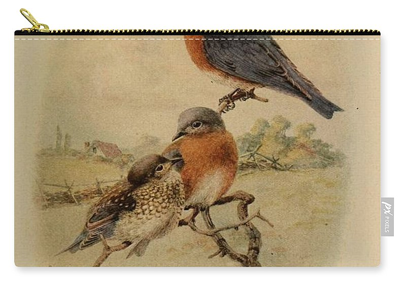 Bluebird Carry-all Pouch featuring the painting Bluebirds by Philip Ralley