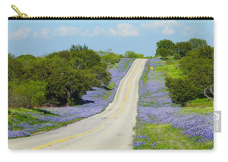 Texas Carry-all Pouch featuring the photograph Bluebonnet Highway 2am-28667 by Andrew McInnes