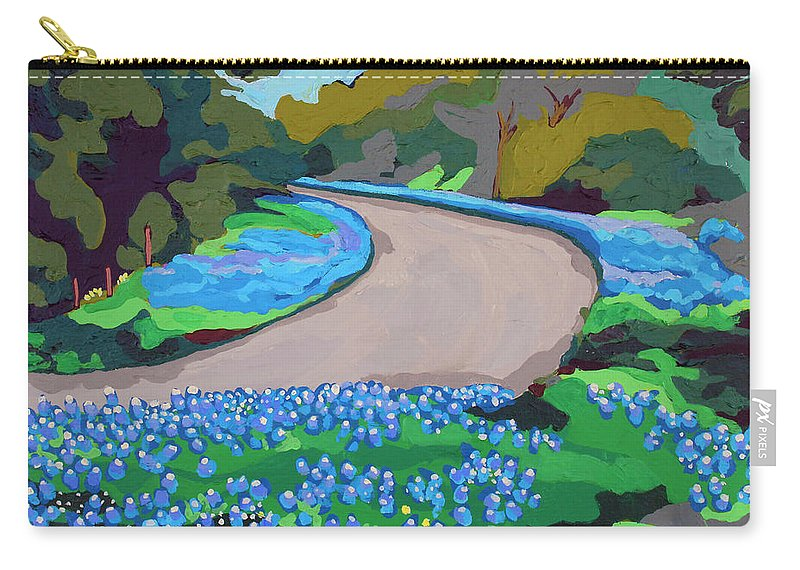 Landscape Carry-all Pouch featuring the painting Bluebonnet Road by Melinda Patrick