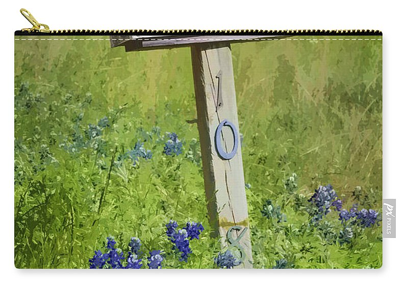 Fort Parker State Park Carry-all Pouch featuring the photograph Bluebonnets And Mailbox by Joan Carroll