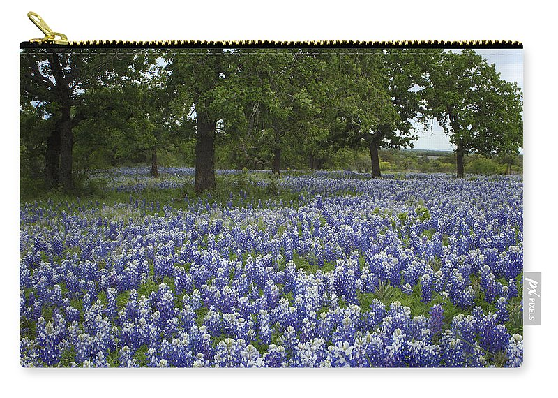 Texas Carry-all Pouch featuring the photograph Bluebonnets And Oaks by Susan Rovira