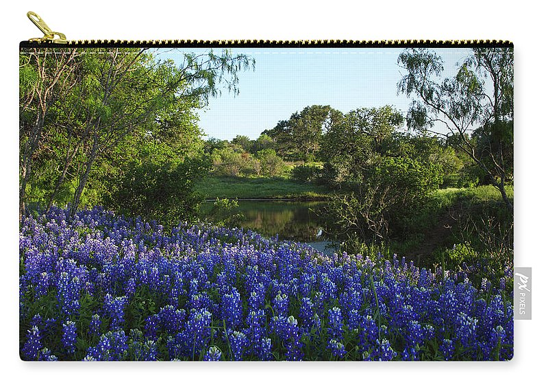 Carry-all Pouch featuring the photograph Bluebonnets By The Pond by Susan Rovira