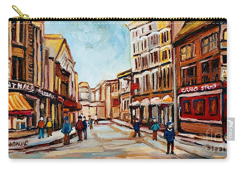 Montreal Carry-all Pouch featuring the painting Blumenthals On Craig Street by Carole Spandau