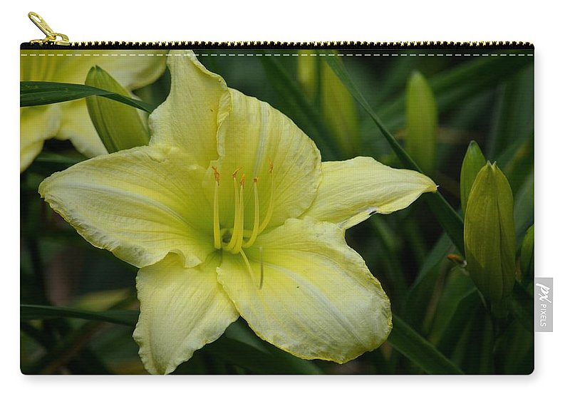 Blushing Yellow - Lilies Carry-all Pouch featuring the photograph Blushing Yellow - Lilies by Maria Urso