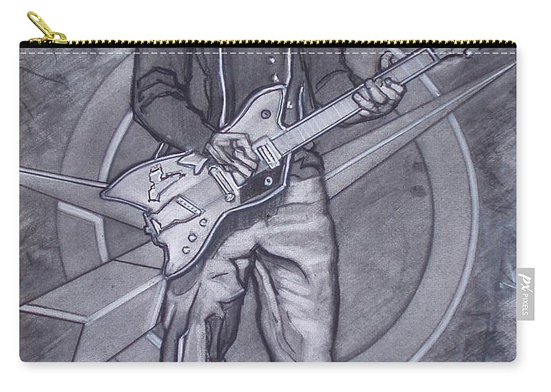 Texas;charcoal;king Of Rock;rock And Roll;music;1950s;blues;musician;funk;electric Guitar;marble;soul Carry-all Pouch featuring the drawing Bo Diddley - Have Guitar Will Travel by Sean Connolly