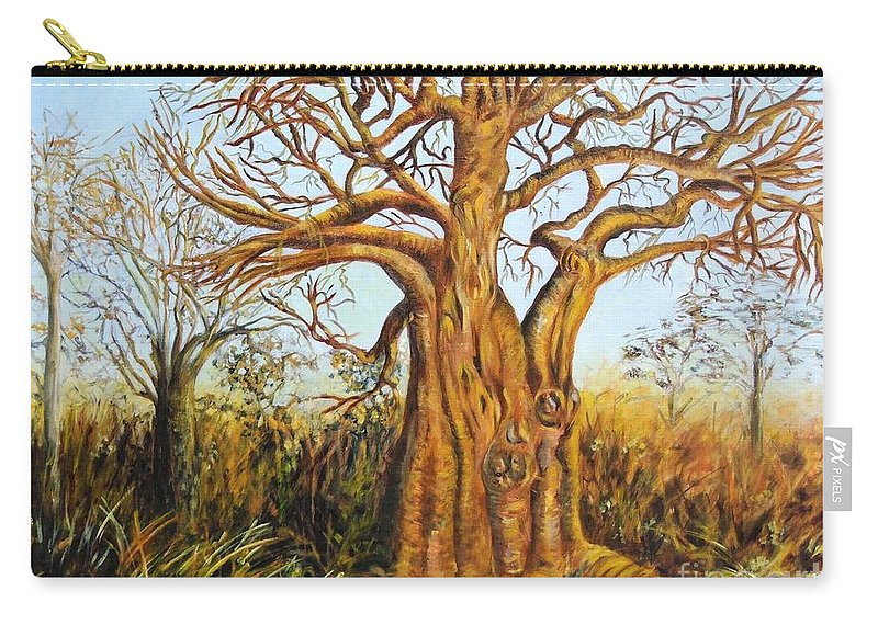 Trees Carry-all Pouch featuring the painting Baobab Tree by Caroline Street