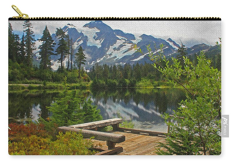 Board Walk Carry-all Pouch featuring the photograph Board Walk- Lake- Fir Trees And Mount Baker by Tom Janca