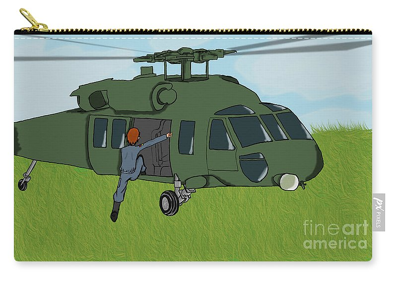 Helicopter Carry-all Pouch featuring the digital art Boarding A Helicopter by Yael Rosen