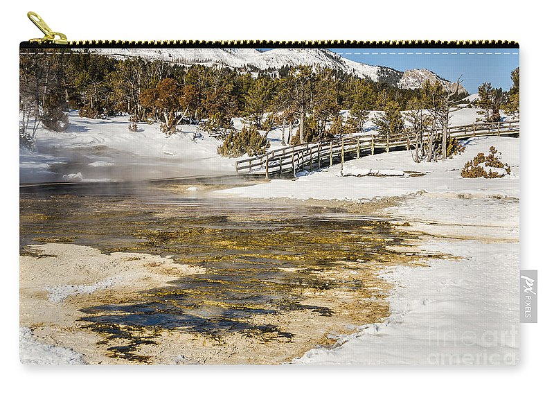 Mammoth Hot Springs Carry-all Pouch featuring the photograph Boardwalk In The Park by Sue Smith
