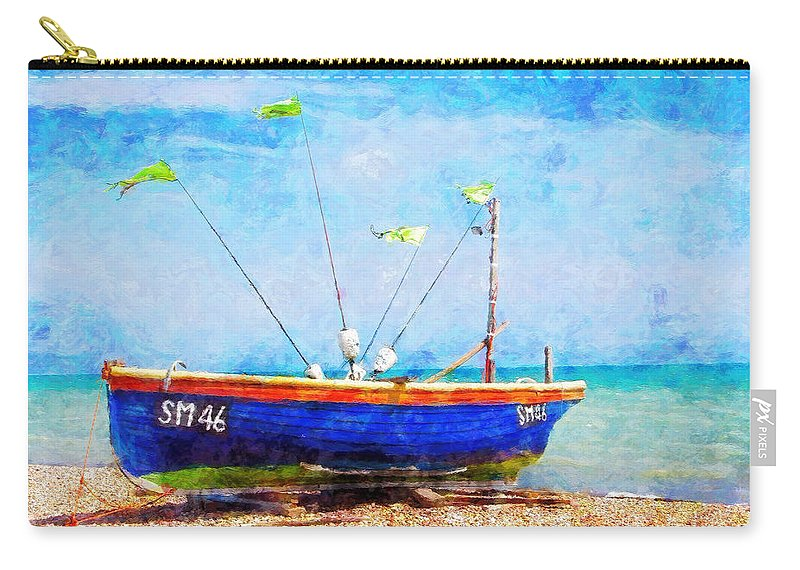 Boat Carry-all Pouch featuring the painting Boat Ashore by Sandy MacGowan