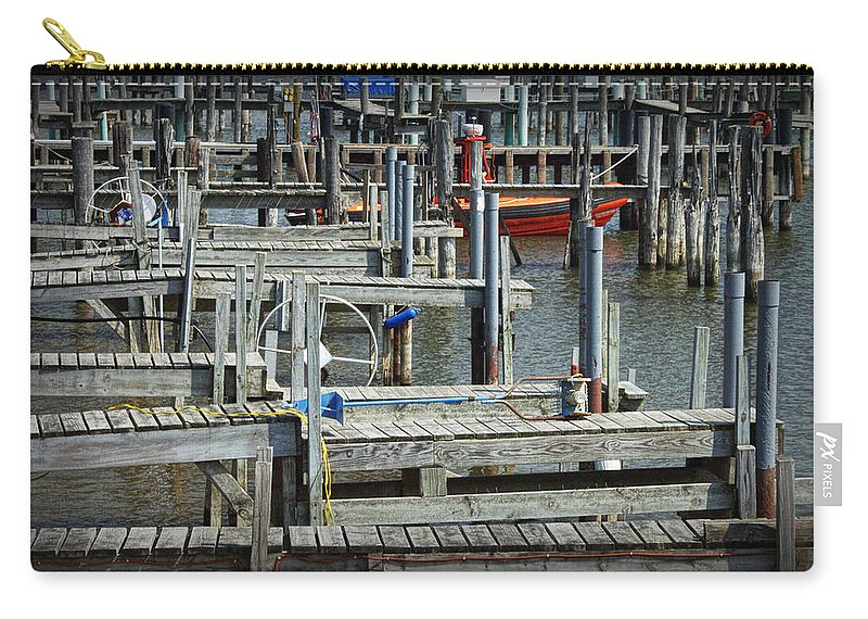 Art Carry-all Pouch featuring the photograph Boat Docks In Lake Macatawa by Randall Nyhof