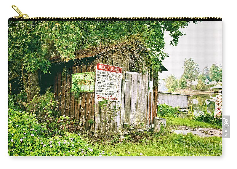 Outhouse Carry-all Pouch featuring the photograph Boat Launch Outhouse - Texture Bw by Scott Pellegrin