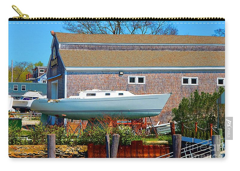 Boat Carry-all Pouch featuring the photograph Boat Repair Shop Number Two by Christopher Shellhammer