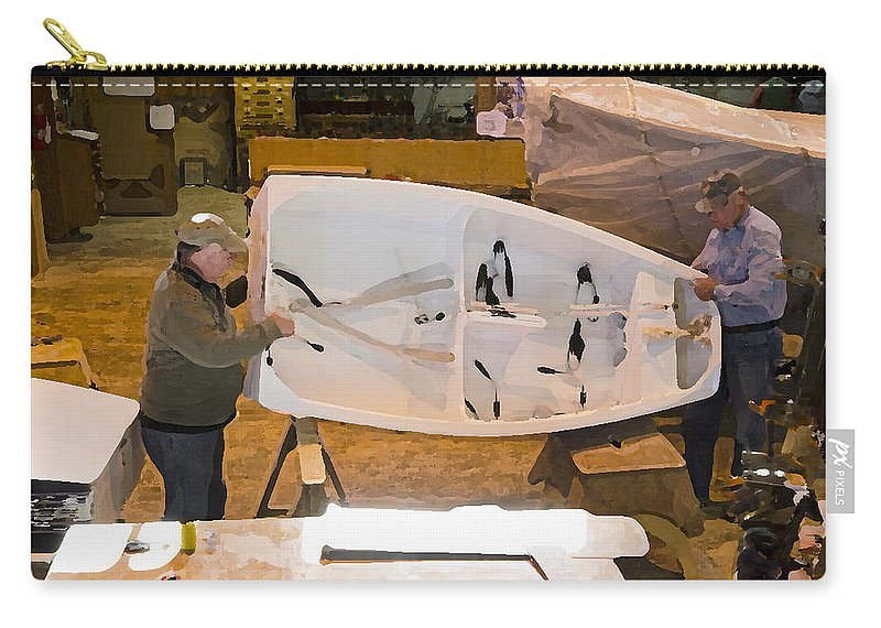 Craftsman Carry-all Pouch featuring the painting Boat Shed 6 by Jeelan Clark