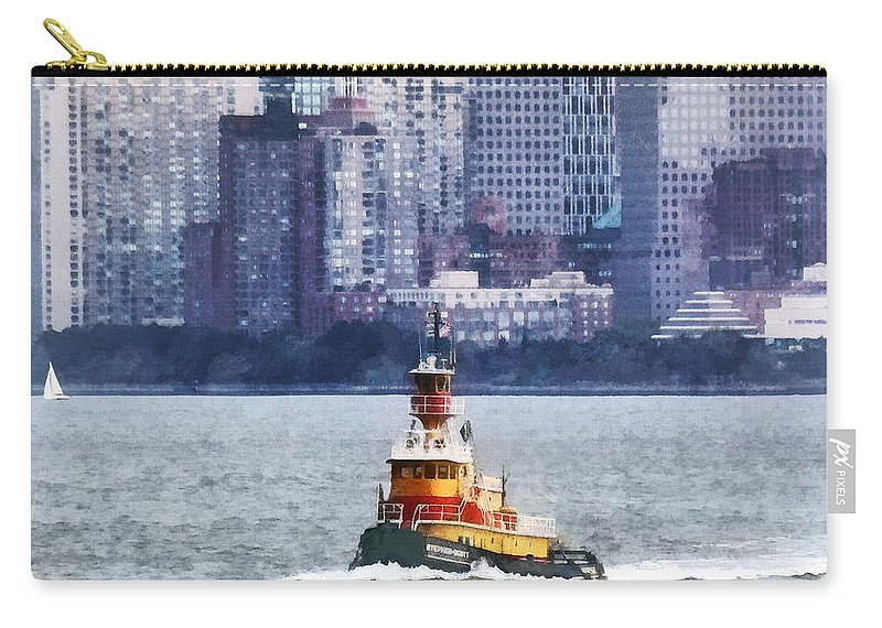 Boat Carry-all Pouch featuring the photograph Boat - Tugboat By Manhattan Skyline by Susan Savad