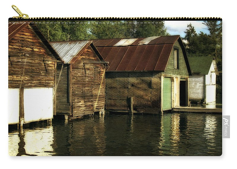Traverse City Carry-all Pouch featuring the photograph Boathouses On The River by Michelle Calkins