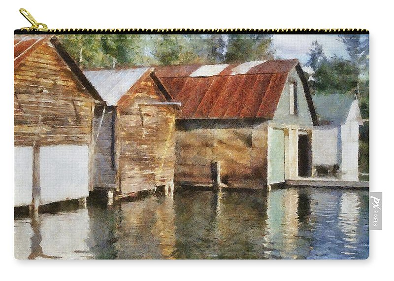 Boat Houses Carry-all Pouch featuring the photograph Boathouses On The Torch River Ll by Michelle Calkins
