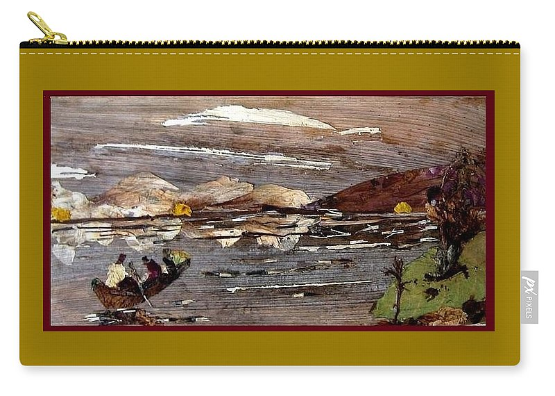 Boating Scene Carry-all Pouch featuring the mixed media Boating in river by Basant Soni