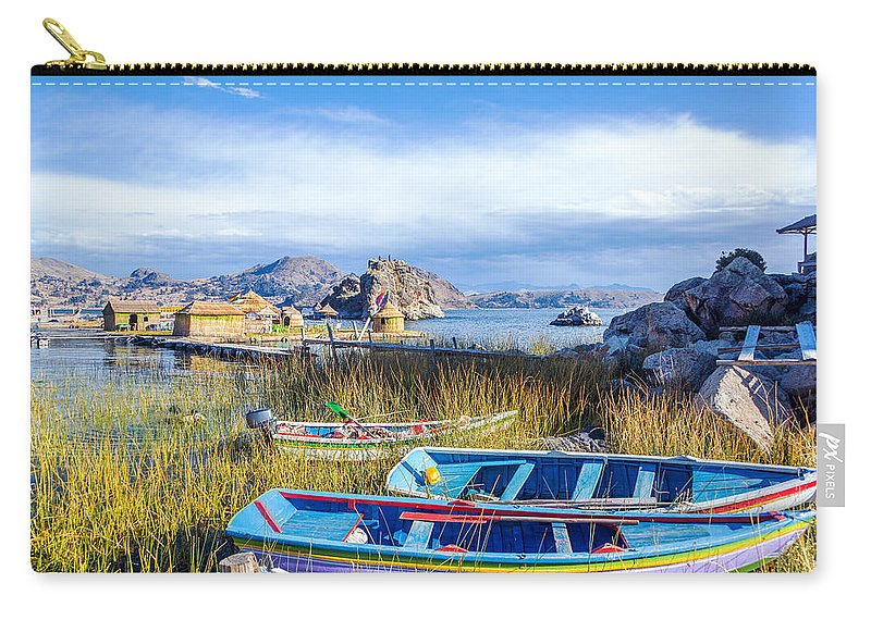 Titicaca Carry-all Pouch featuring the photograph Boats And Floating Islands by Jess Kraft