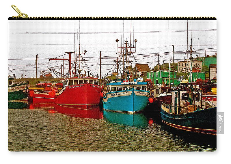 Boats In Branch Marina Carry-all Pouch featuring the photograph Boats In Branch Marina-nl by Ruth Hager