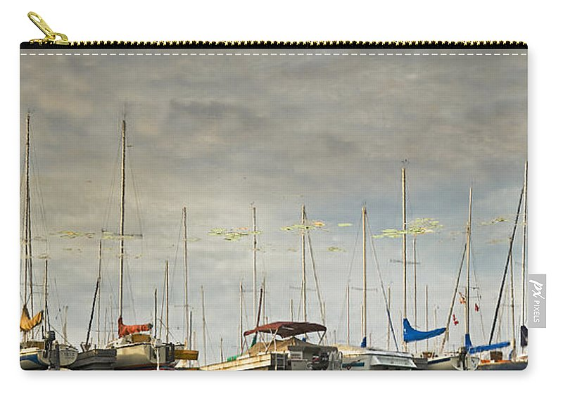 Boats Carry-all Pouch featuring the photograph Boats In Harbor Reflection by Peter v Quenter