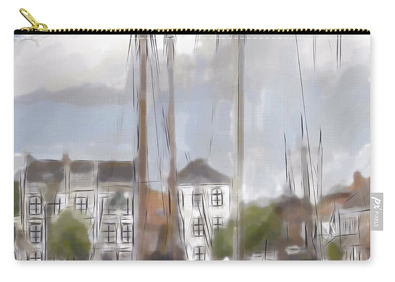Boat Boats Landscape Harbor Cloud Clouds Watercolor Ink Sepia 1905 Vintage Aquarell Water Old Expressionism Painting Carry-all Pouch featuring the painting Boats In The Harbor 1905 by Steve K