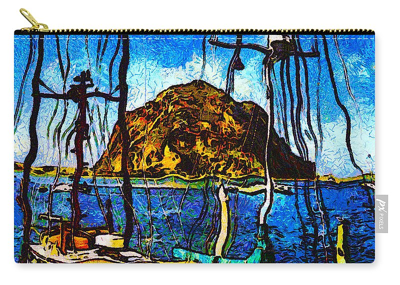 Boats Of Morro Bay Carry-all Pouch featuring the digital art Boats Of Morro Bay by Barbara Snyder