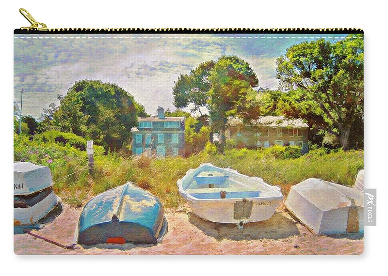 Sharkcrossing Carry-all Pouch featuring the painting Boats Up On The Beach - Horizontal by Lyn Voytershark