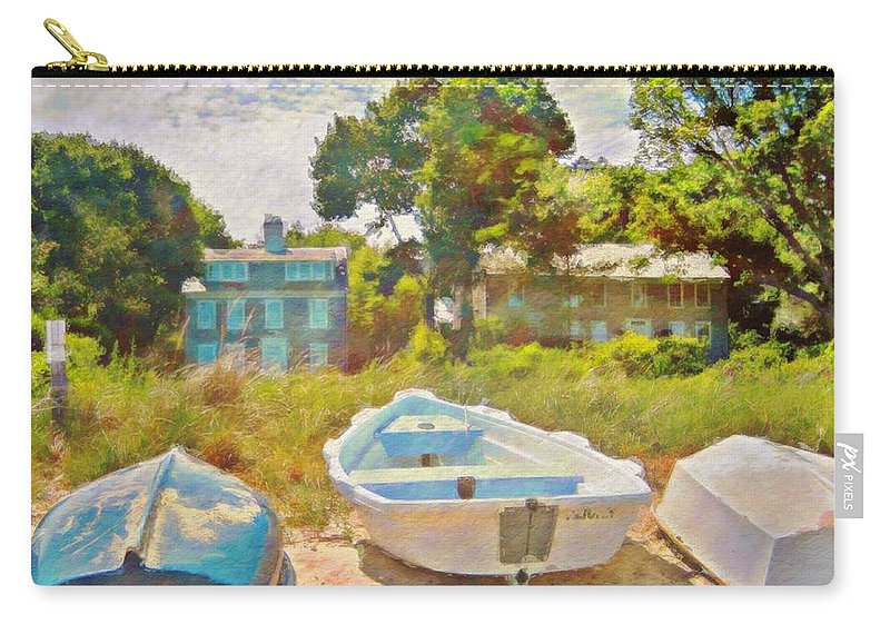 Sharkcrossing Carry-all Pouch featuring the painting Boats Up On The Beach - Square by Lyn Voytershark
