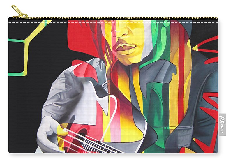 Bob Marley Carry-all Pouch featuring the painting Bob Marley And Rasta Lion by Joshua Morton
