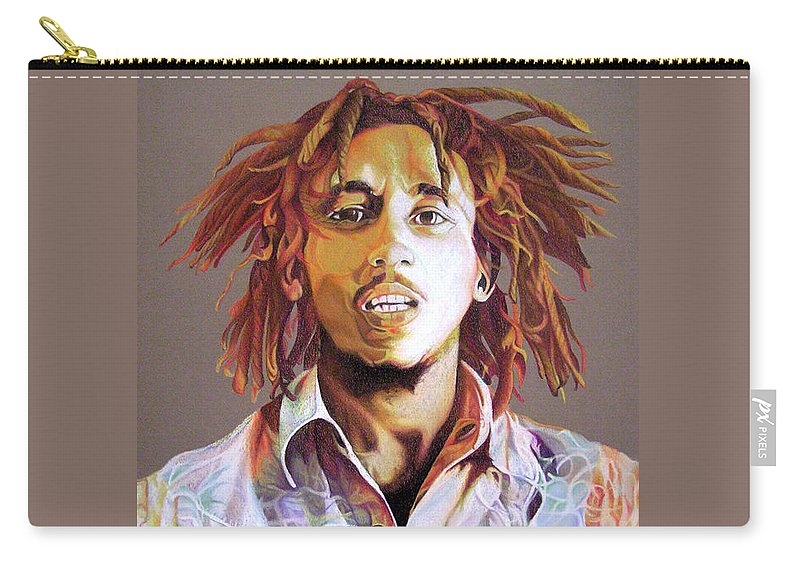 Bob Marley Carry-all Pouch featuring the drawing Bob Marley Earth Tones by Joshua Morton