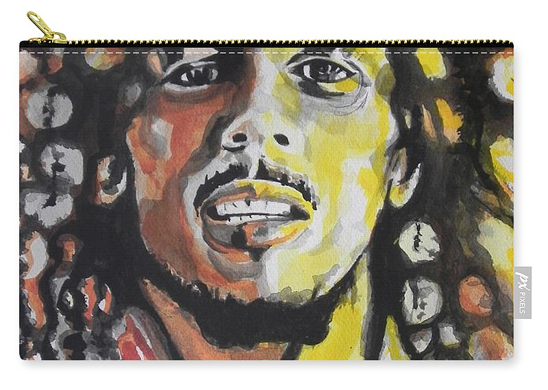 Watercolor Painting Carry-all Pouch featuring the painting Bob Marley 01 by Chrisann Ellis