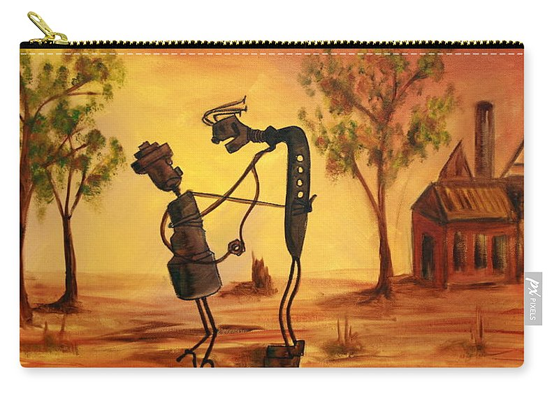Broken Hill Carry-all Pouch featuring the painting Bob 'n' Betty - Broken Hill by Lyndsey Hatchwell