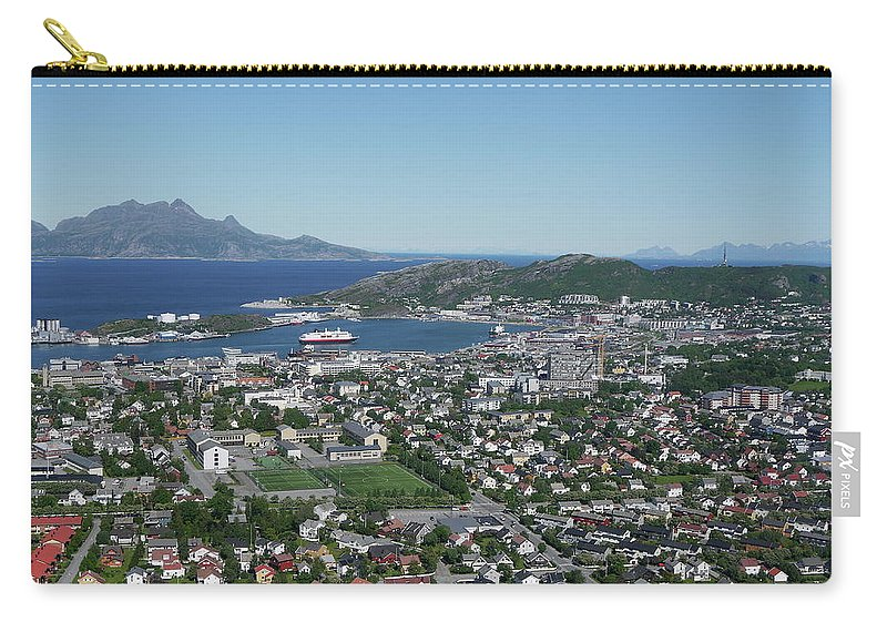 Tranquility Carry-all Pouch featuring the photograph Bodø Airial View, North Norway by Monica Mostue