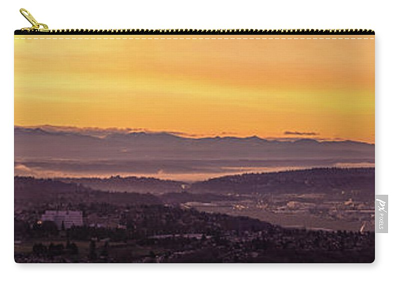 Rainier Carry-all Pouch featuring the photograph Boeing Seatac And Rainier Sunrise by Mike Reid