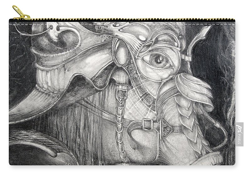 Bogomil Carry-all Pouch featuring the drawing Bogomils Duckhunting Mask by Otto Rapp